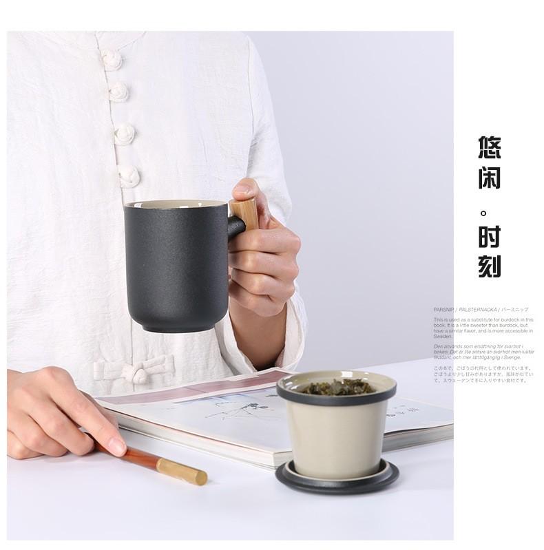 朗特乐 创意茶水分离带盖陶瓷杯快客杯陶瓷茶杯过滤泡茶杯办公杯马克杯带盖水杯茶水分离杯子容量300ml 凝脂白