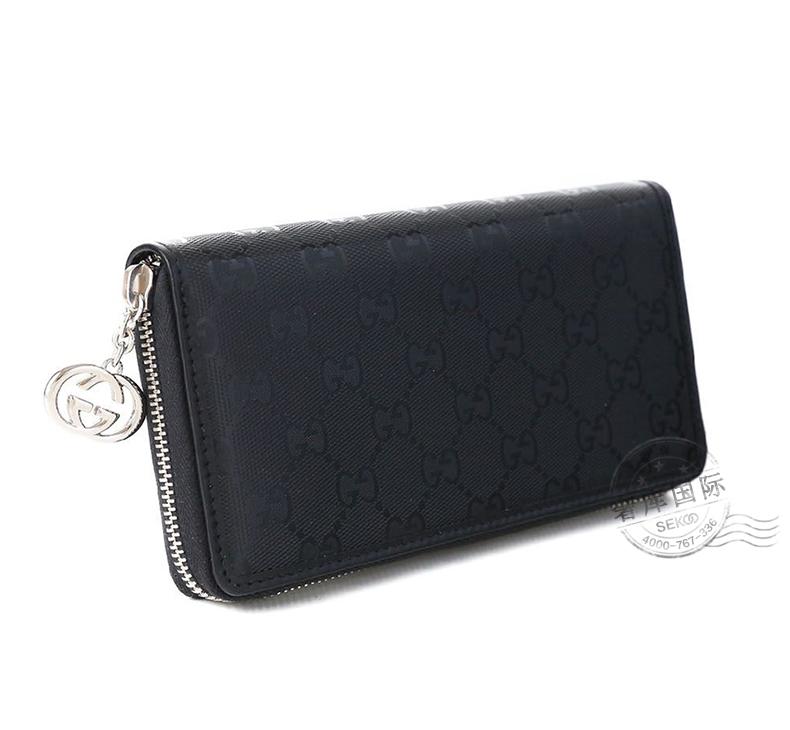 4543df96c822 古驰(GUCCI)女士黑色PVC长款拉链钱包307982 FU49N 1000【图片价格品牌 ...