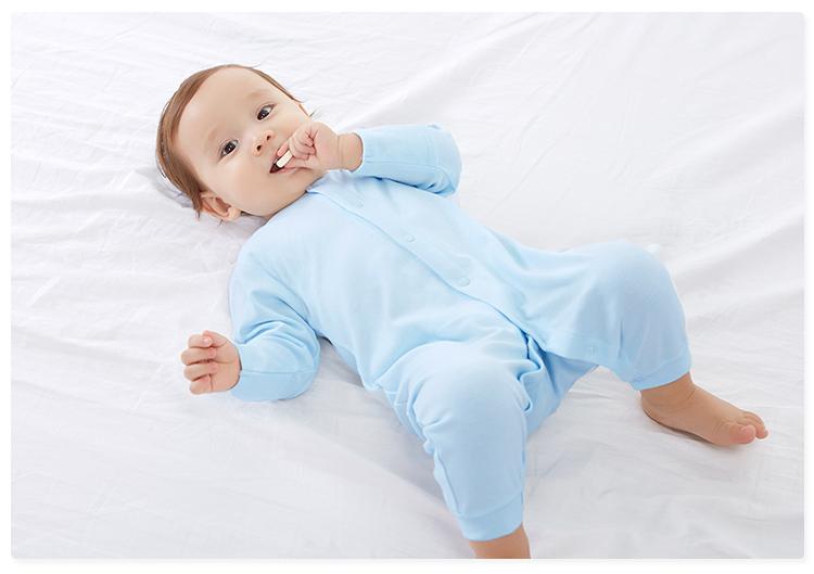 贝贝怡婴儿连体衣纯棉春季新生儿哈衣爬服0-3岁男女宝宝长袖睡衣 米白 59cm