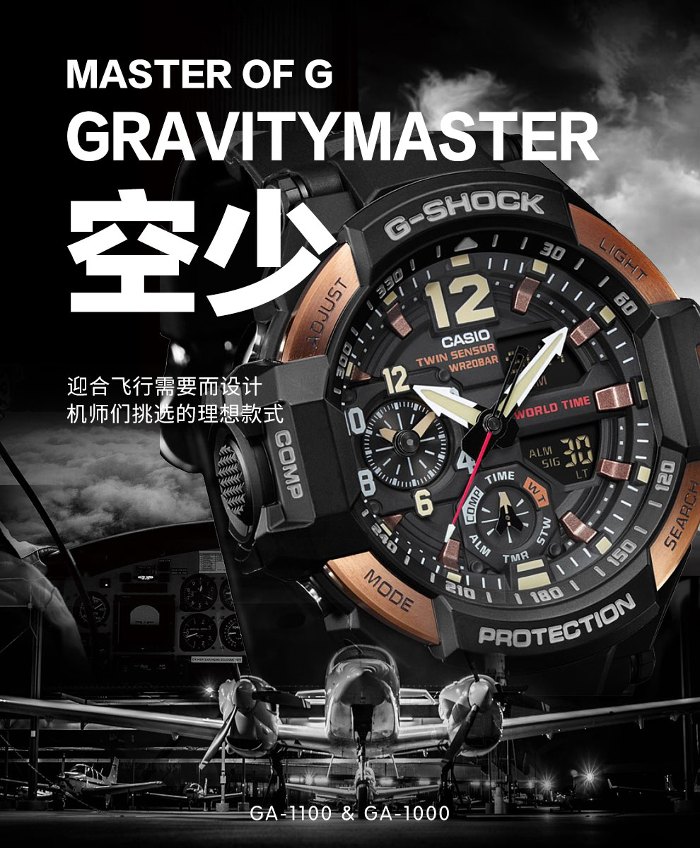 Unlimited Service Casio Watch G Shock Series Compass Aviation Ga 1100 1a3 Technical