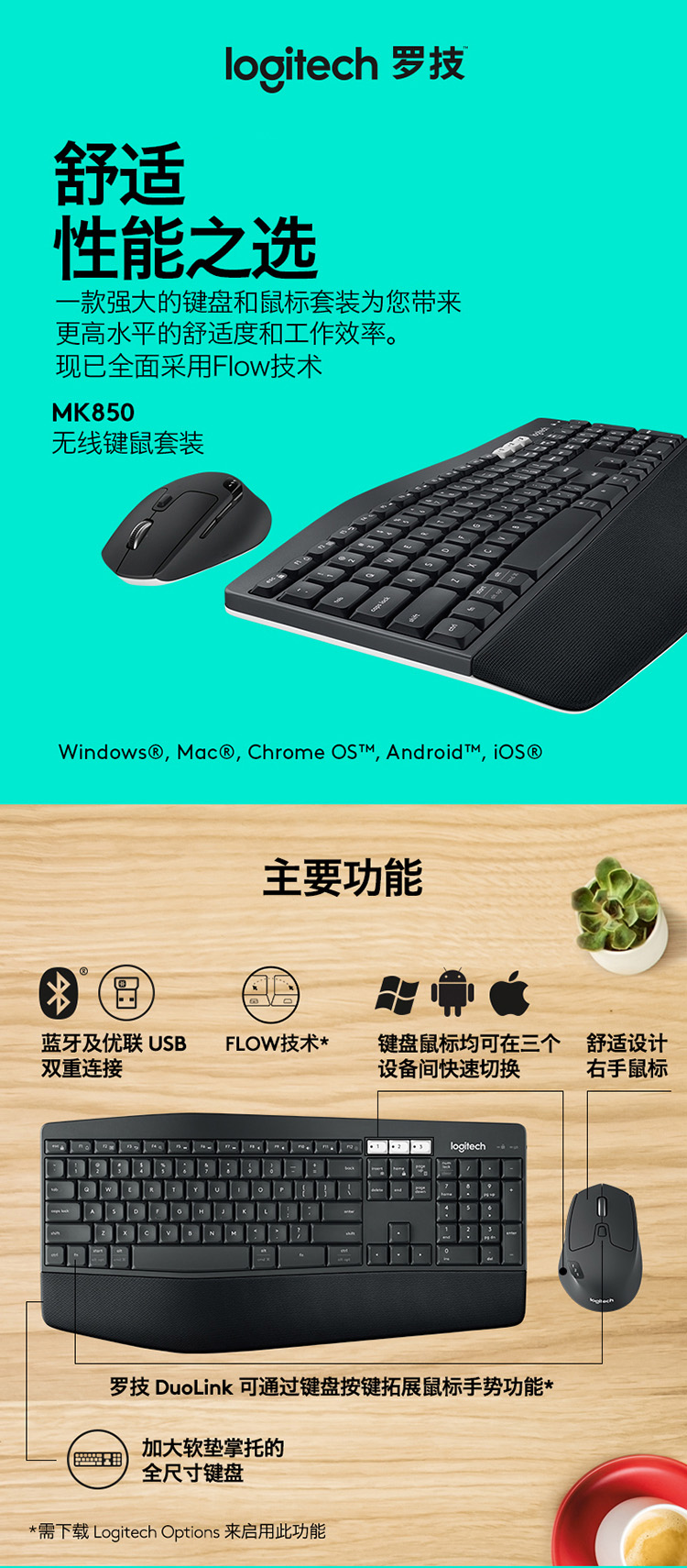 Logitech MK850 Business Office Set Wireless Keyboard Set Optimal Connection  with Palm Holder MK850 Wireless Keyboard Rat Set