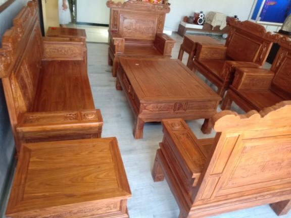 粤顺红木家具非洲花梨(学名:刺猬紫檀)沙发全实木沙发组合沙发中式客厅家具大中户型豪华组合沙发套装三人+双人+单人+方几*2+大平几