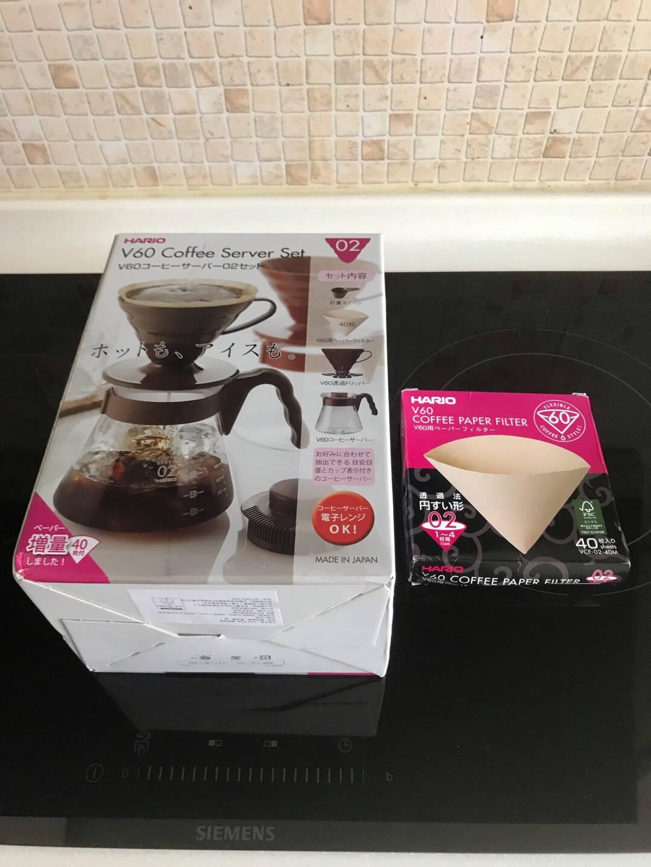 HARIO日本进口咖啡套装耐热玻璃V60滴滤式咖啡滤杯新手咖啡壶套装定制款白色