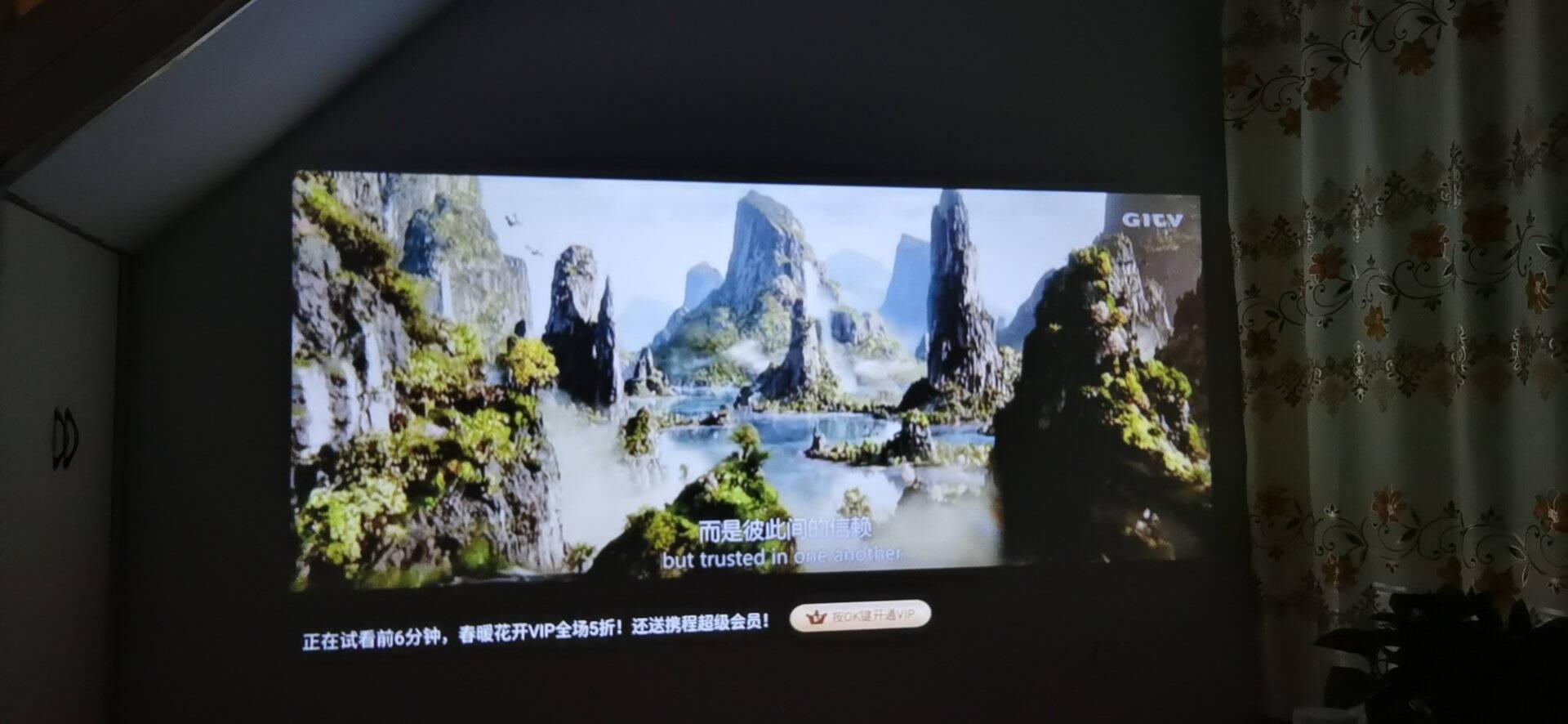 【4K高清白天直投】轰天炮投影仪家用便携办公4K全高清1080P无线wifi投影机3d智能激光电视香槟金S-180(全高清4K+白天直投)