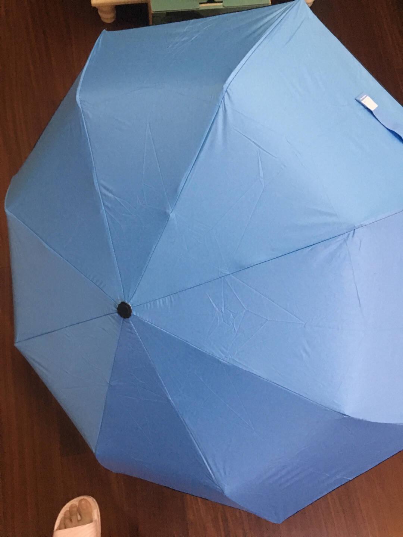 LOGO可定制UV简约小清新防紫外线黑胶晴雨伞折叠遮阳伞森系太阳伞一建自动收开商务伞适合1-2人自动雅黑