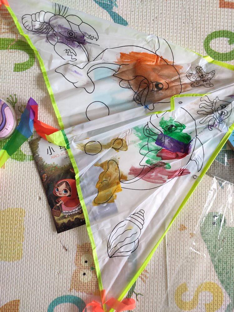 墨斗鱼教学填色风筝0796手绘填充风筝手工亲子互动30米线风筝自制户外玩具风筝风筝节儿童礼物生日礼物