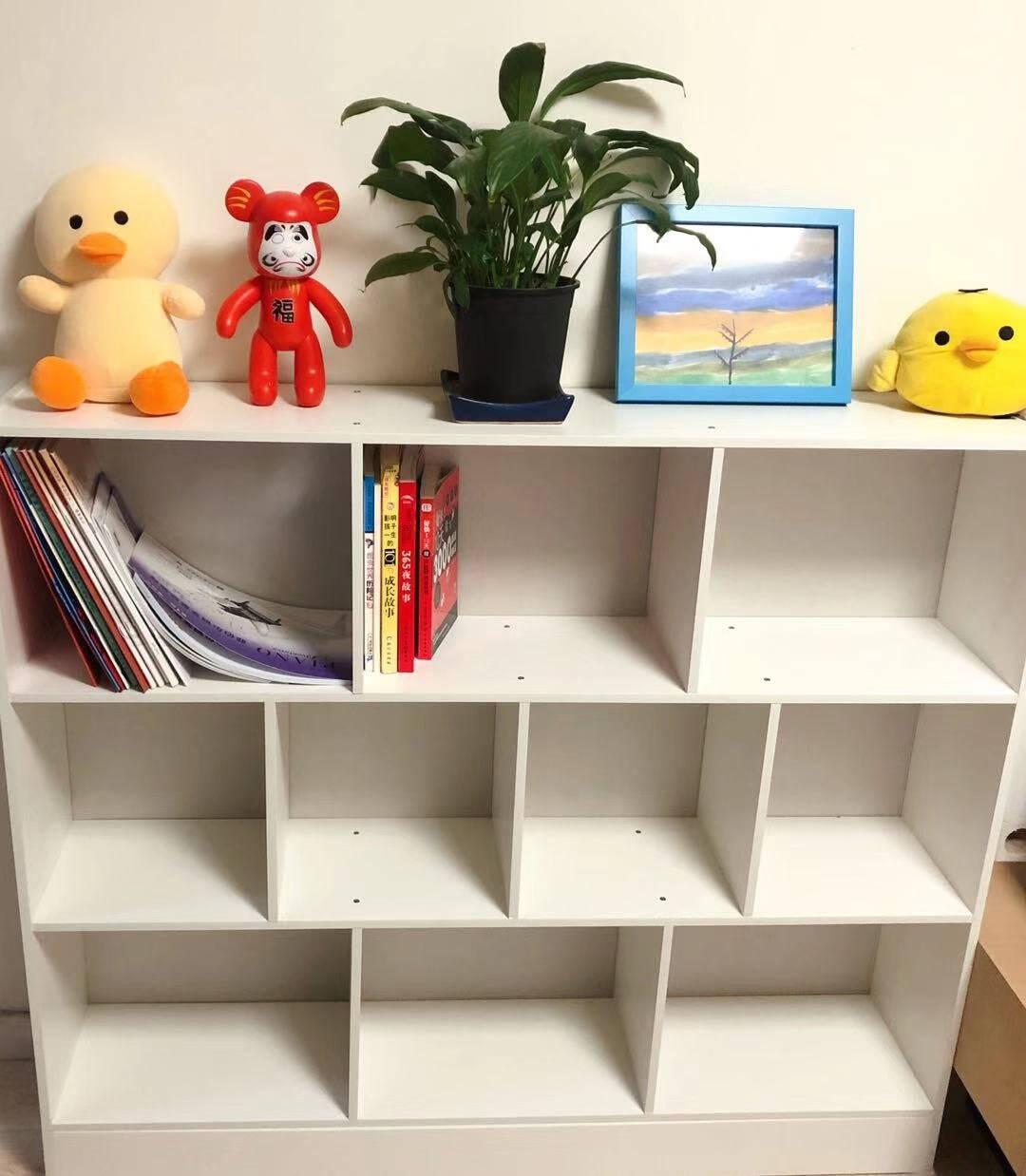 蔓斯菲尔(MSFE)书柜书架落地简约置物架收纳储物柜子学生组合柜暖白色