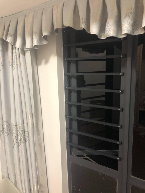 启窗窗户防护栏隐形防盗窗防护网阳台栏杆安全窗围栏儿童安全防护网蓝灰色窗内空60-70厘米/1根