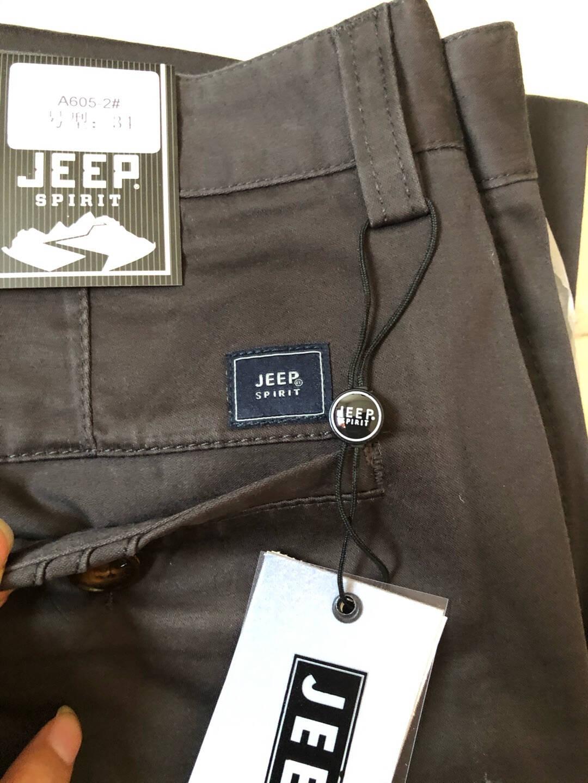 吉普JEEP休闲裤男宽松直筒中青年男士长裤子男商务2021新款休闲男裤B605卡其色34码=2尺6