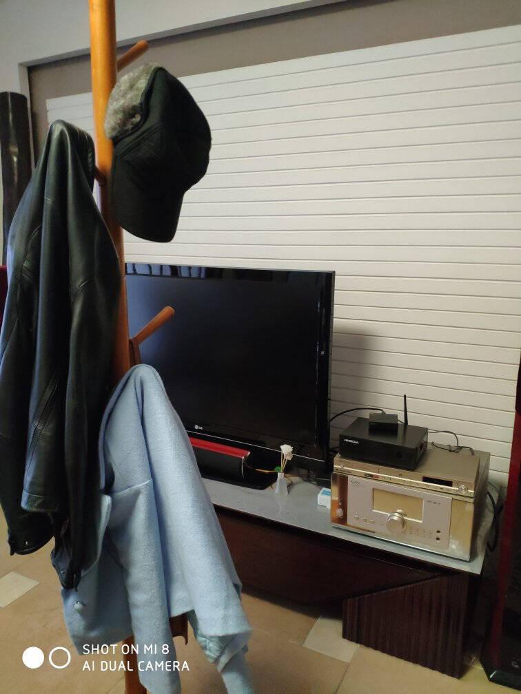 家逸衣帽架实木落地衣架卧室办公挂衣架简易衣架现代简约多挂钩晾衣服架子棕色