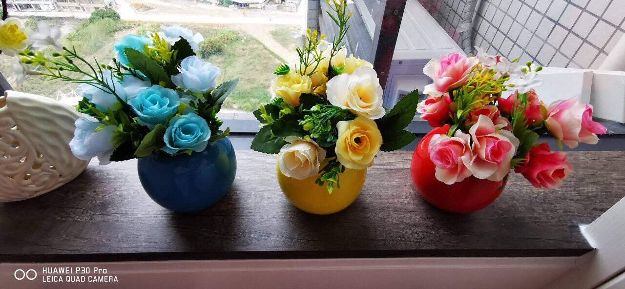 喜莱卡(xilaika)花瓶摆件仿真花套装假花干花小盆栽花插客厅工艺品摆设家居装饰品亮釉新大丰收6件套