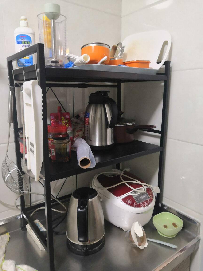心家宜可伸缩厨房置物架微波炉架多层调料架台面金属置物架厨房用品收纳架储物架三层39~65*32*73.5cm(经典黑)