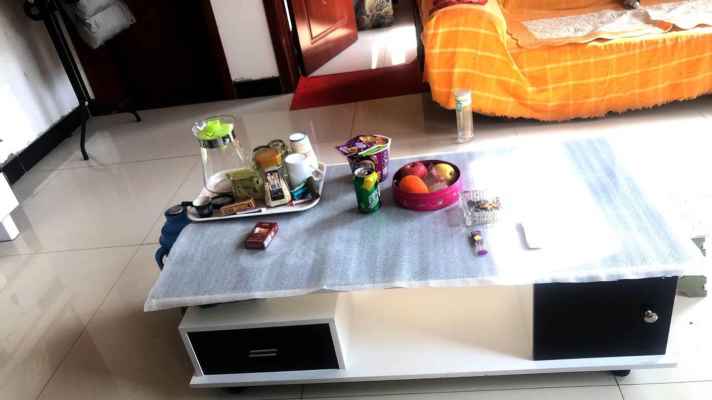 好家日记茶几茶几电视柜钢化玻璃茶几茶几电视柜组合套装现代简约创意小户型客厅简易北欧茶几茶桌1米暖白+黑抽+黑波