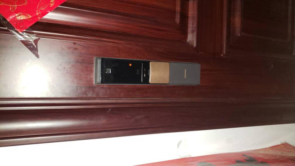 三星(samsung)智能指纹锁密码家用防盗门电子锁DP728原装进口门锁香槟色【原装进口】