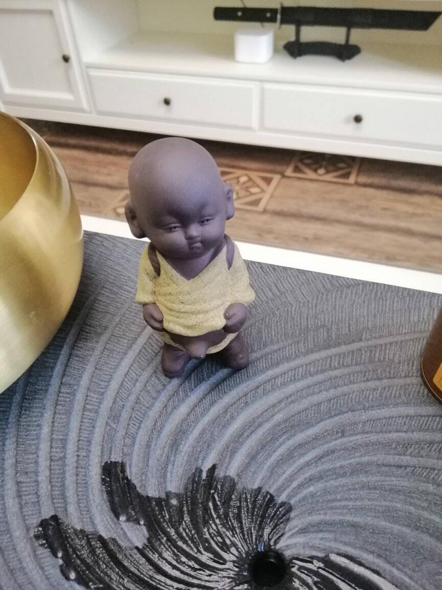 宇轩紫砂茶宠喷水尿童摆件精品创意小和尚可养茶艺茶盘茶具配件紫砂喷水尿童-蓝色