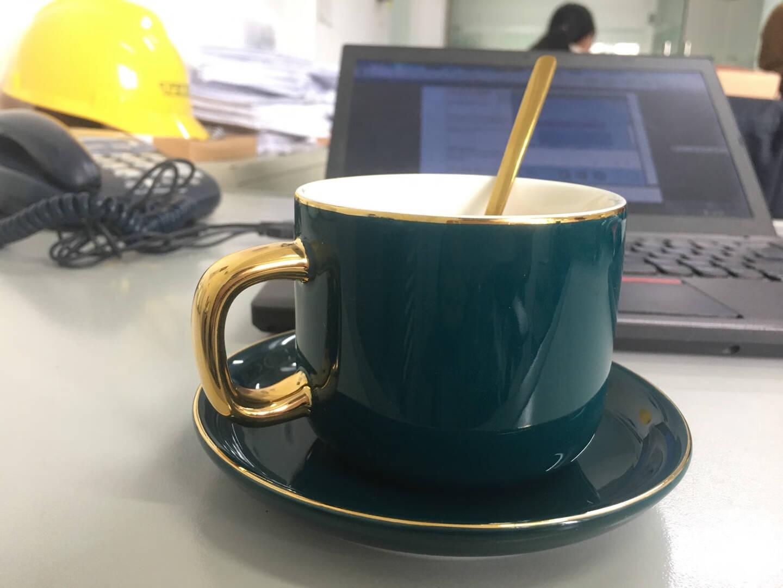 Edo欧式咖啡杯套装简约三色陶瓷杯碟勺【6杯6碟6勺含架子】办公室休闲下午茶杯咖啡拿铁杯