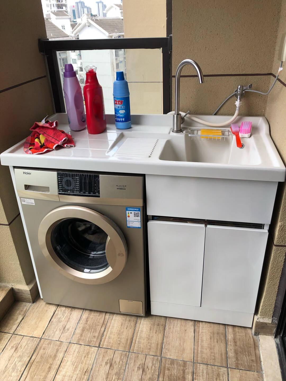 希箭(HOROW)不锈钢洗衣机柜台盆组合套装落地式浴室阳台洗衣柜象牙白120cm【左右盆可选,默认发右盆】