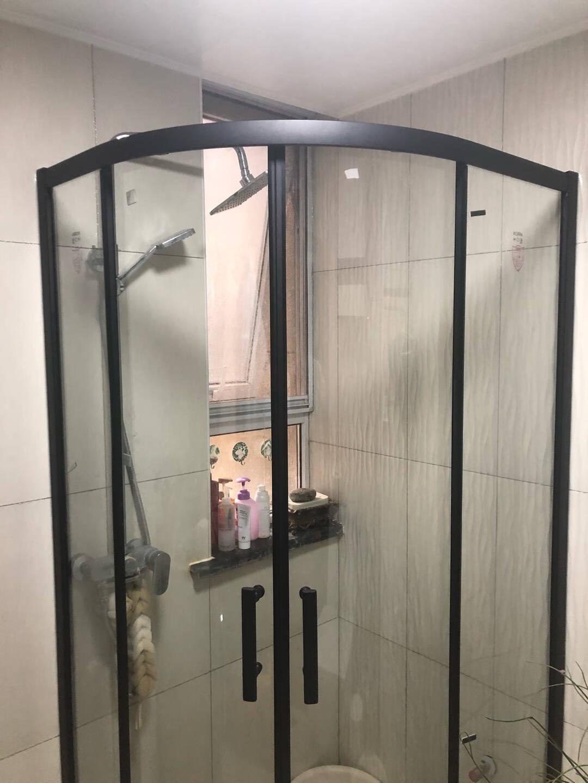 箭牌卫浴(ARROW)黑色简易铝合金淋浴房加厚防爆卫生间洗澡间玻璃门隔断弧扇形定制一体沐浴房1000*1000mm【到手价1799】带防爆膜