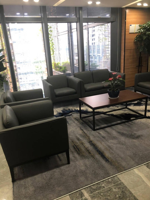 森克邦办公沙发商务办公室接待沙发现代简约皮质休闲会客办公沙发茶几组合接待会客沙发三人位沙发西皮(PU皮)