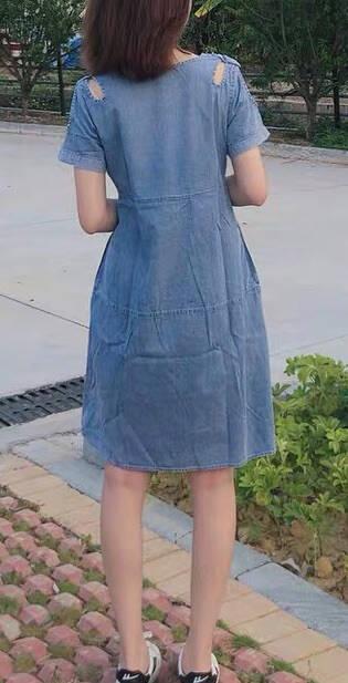 墨茉2021夏季新款连衣裙短袖牛仔薄露肩弹力雪纺宽松韩版大码女装百搭春中长裙子女夏蓝色3XL(135-155斤)