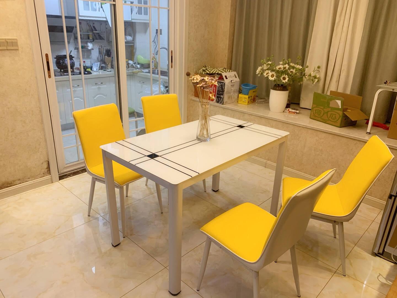 凡社餐桌钢化玻璃餐桌椅小户型4人6人组合现代简约饭桌餐厅桌子120*70cm白色FJCWW3