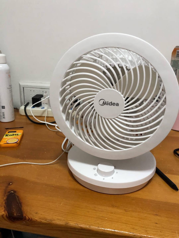 美的(Midea)空气循环扇电风扇台式家用小风扇小型台扇迷你电扇办公室宿舍涡轮静音摇头GAD18MA(白色)