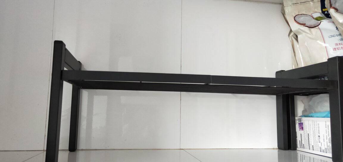 帅仕厨房置物架桌面调料柜子内分层台面置物锅架收纳储物分隔整理架子黑色单层30.5cm