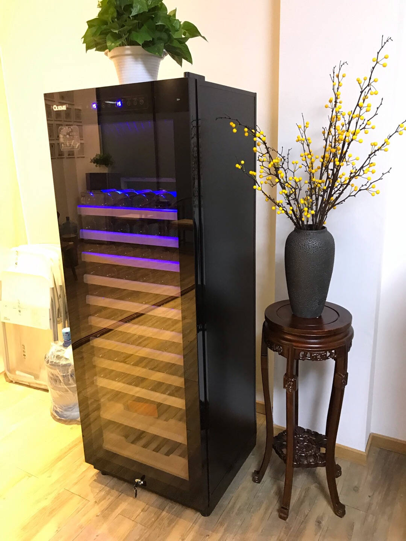 各美(Queme)红酒柜恒温酒柜家用客厅办公室压缩机葡萄酒柜茶叶雪茄冰吧立式冷藏保鲜展示冰吧多用途/高1.65M-黑珠光