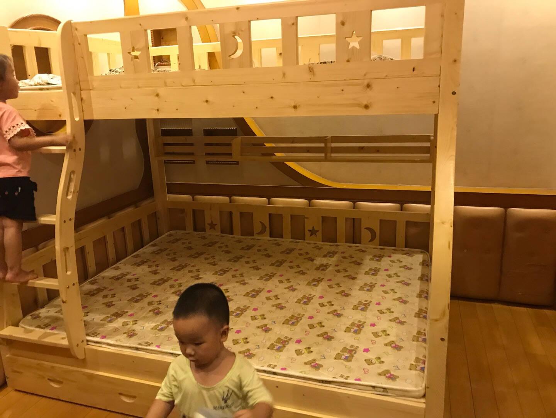 莱客轩(京速达预约免费安装)上下床实木高低床子母床松木双层上铺1.3米下铺1.5米爬梯款儿童家具