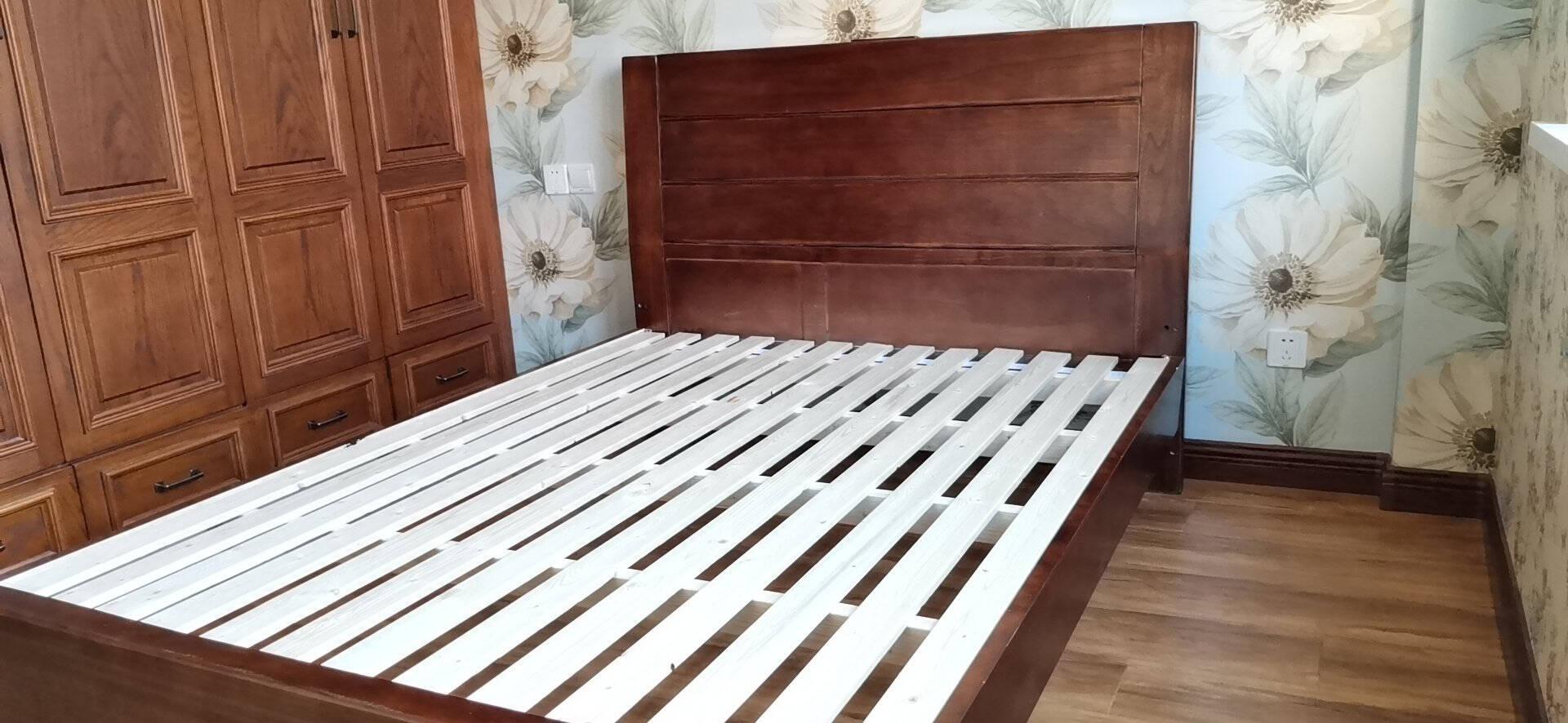 【爆款直降】丽巢床实木床中式胡桃木单双人床大床卧室皮床家具婚床6606普通款单床(备注1.5米/1.8米)