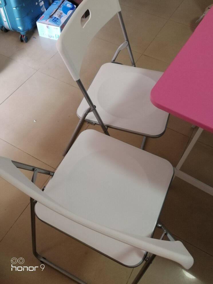 帅力折叠椅子凳子北欧塑料办公电脑便携椅客厅阳台休闲靠背餐椅白色SL1612Y7