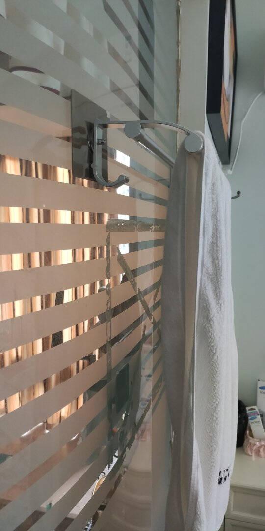 佳佰太空铝毛巾架强力吸壁双杆毛巾架浴室免打孔置物架双挂钩浴巾架家居用品