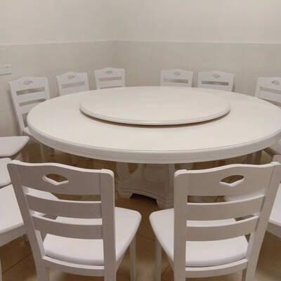 歆菲逸实木餐桌椅软包组合饭店酒店2米大圆桌家用12人饭桌包厢多人餐桌1.3米单圆桌送转盘(五色可选)
