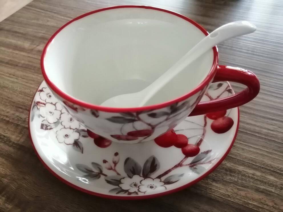 佳佰美式水果系列咖啡杯碟带勺陶瓷马克杯牛奶杯茶杯碟杯子