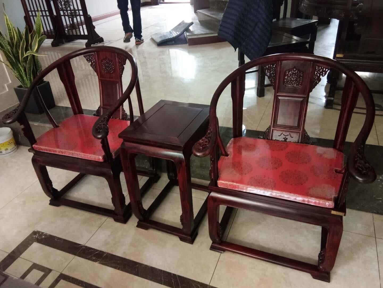 【劲爆五折】木恒盛红木家具缅甸花梨学名大果紫檀皇宫椅明清古典精品圈椅三件套大果皇宫椅3件套