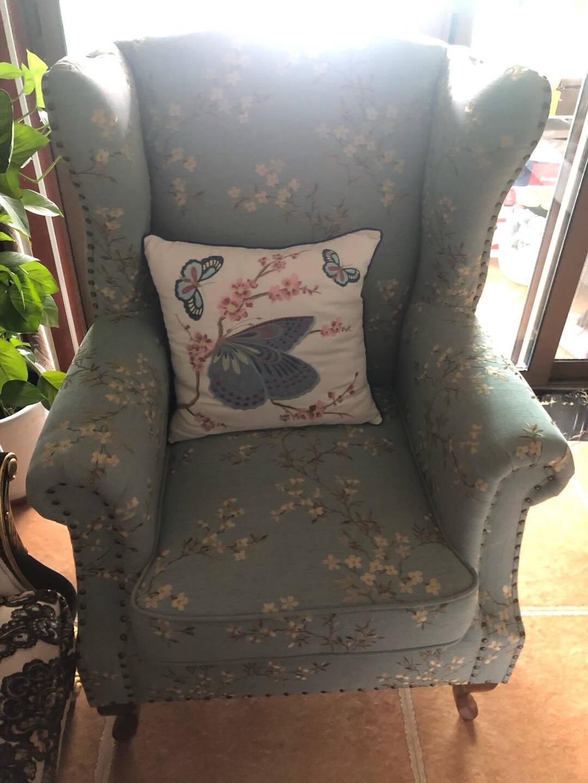 【瑞曼莎】美式乡村老虎椅布艺沙发欧式高背休闲单人椅北欧田园客厅老虎凳小户型单人沙发卧室阳台休闲沙发椅【浅蓝】梅花