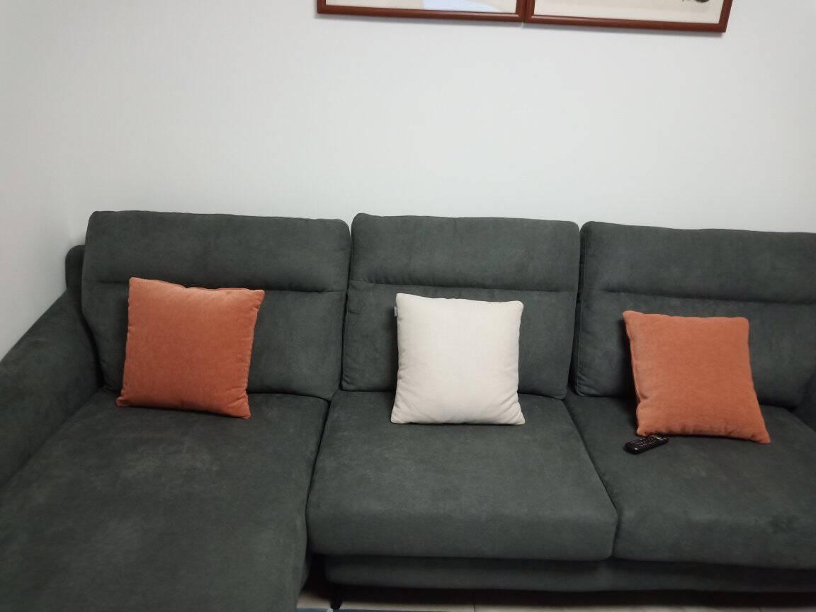 全友家居现代简约布艺沙发可拆洗整装沙发双段分区靠背三人位沙发102531B款布艺沙发(1+3+转)正向