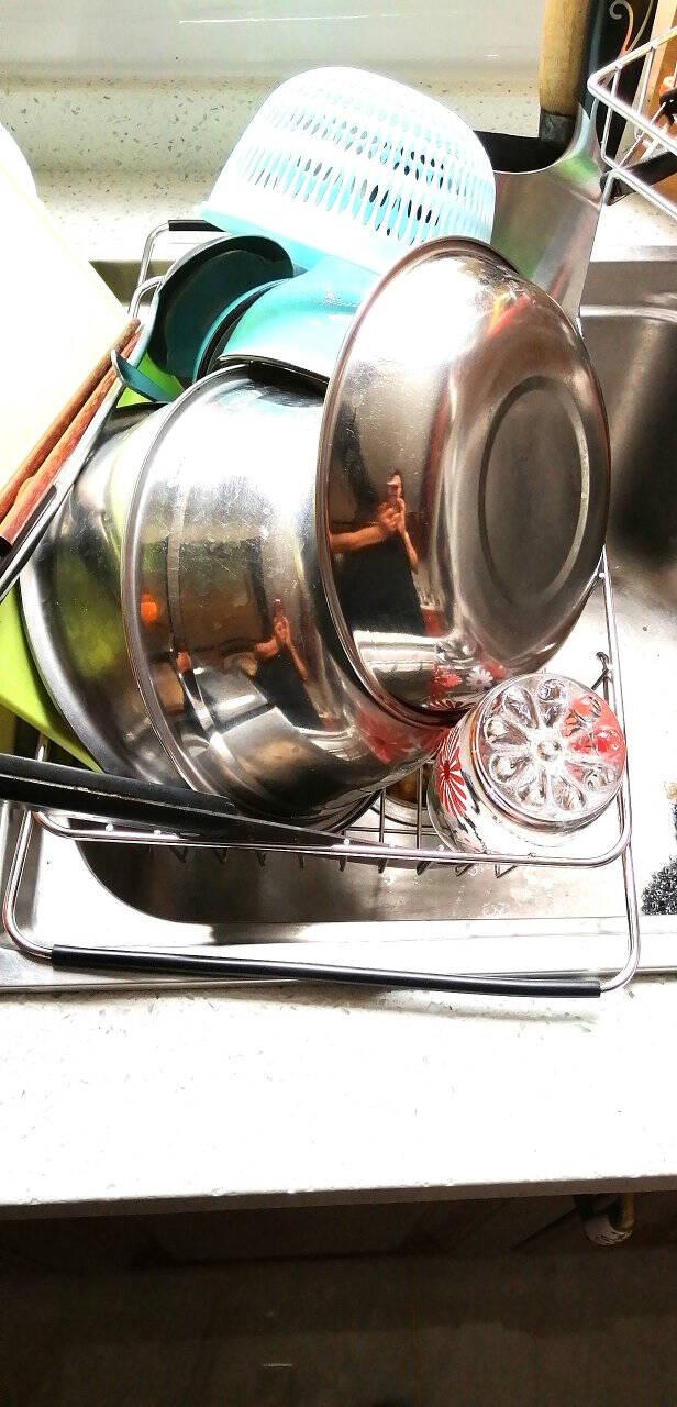 熊猫兔厨房置物架不锈钢水槽沥水架沥水篮碗碟收纳架可伸缩水池洗菜篮拱网款