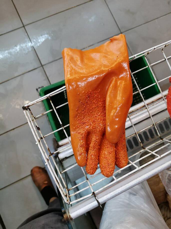 全浸塑杀鱼橡胶止滑劳保手套加厚全胶皮颗粒防水防滑工作耐磨防油桔色颗粒止滑(10双)XL