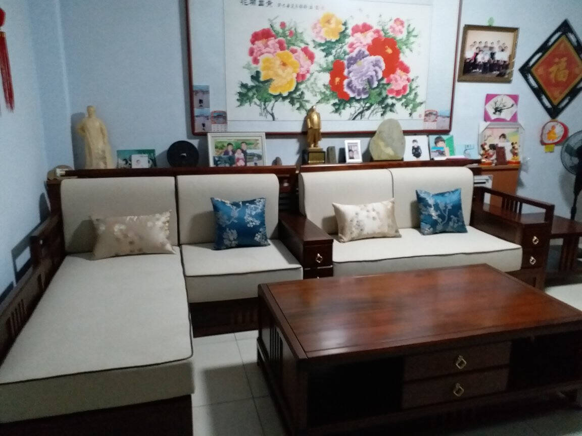 XIYINGMEN胡桃木新中式全实木沙发L型现代轻奢简约布艺客厅家具组合套装组合三:沙发整套+茶几电视柜