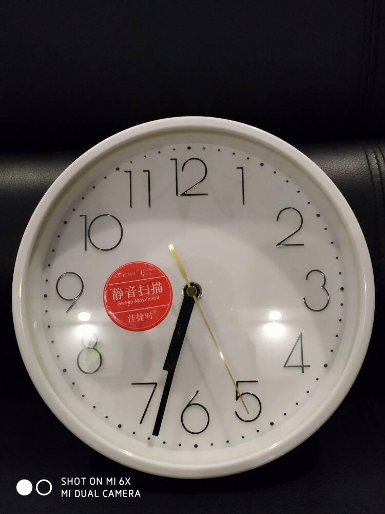 佳捷时静音挂钟创意新中式客厅卧室钟表办公室石英钟机芯钟北欧现代简约式酒店时钟表挂墙壁钟12英寸黑色