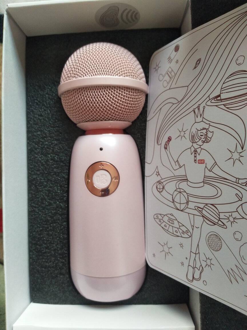 唱吧精灵麦克风Q3玄青色无线蓝牙麦克风话筒音响一体K歌麦全民K歌手机/电脑麦克风唱放一体