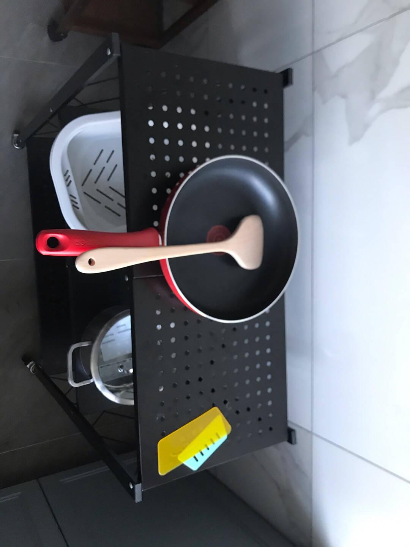 稳纳免安装折叠置物架厨房落地收纳货架客厅家用储物架微波炉架子多层阳台卧室卫生间杂物柜黑色M8016H
