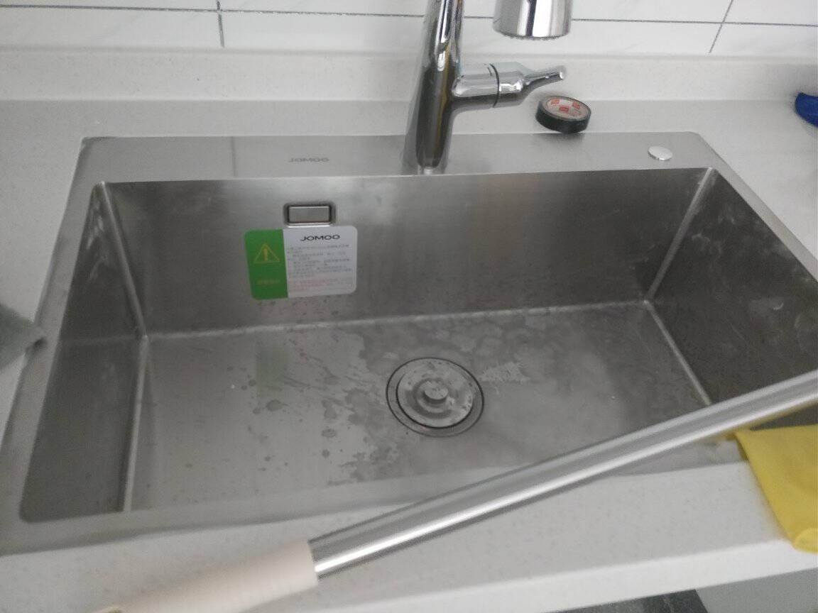 九牧(JOMOO)厨房大单槽进口大容量加厚304不锈钢龙头洗菜盆洗碗池06158【手工单槽06158+抽拉龙头】预售6月15日发货