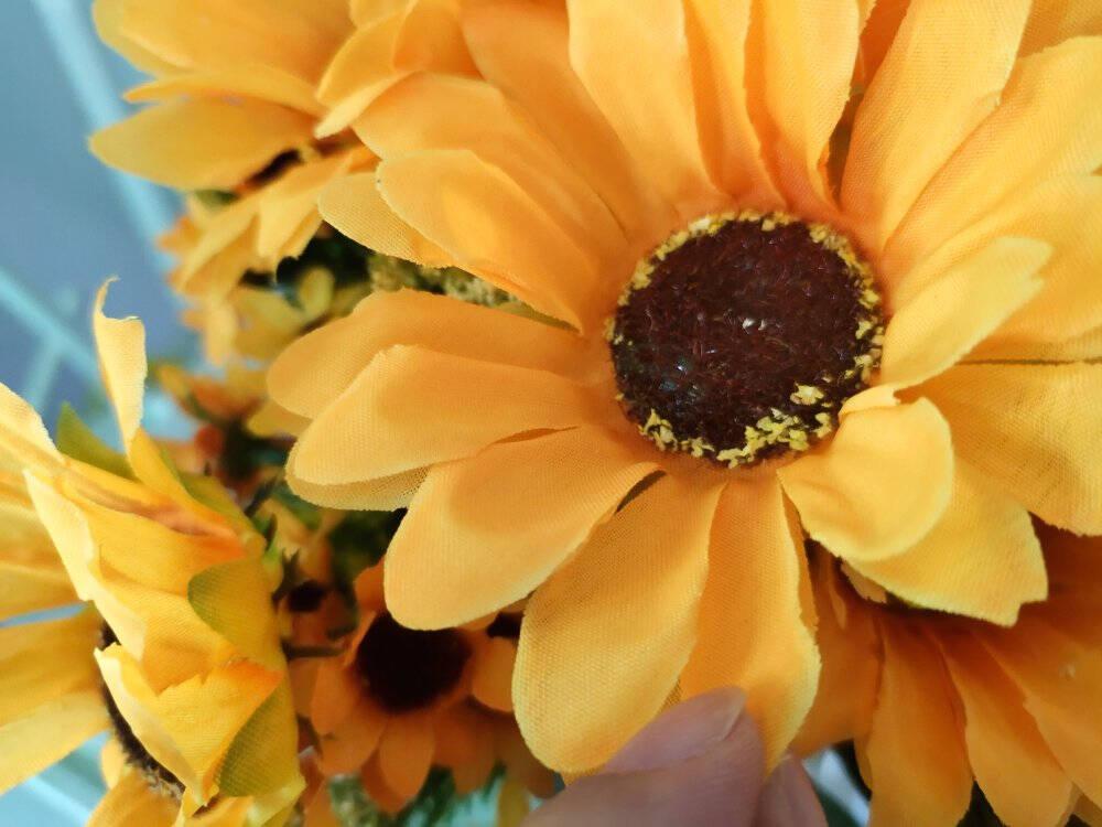 盛世泰堡仿真花藤假花藤条塑料藤蔓吊顶装饰花客厅管道空调布置10头向日葵2条装