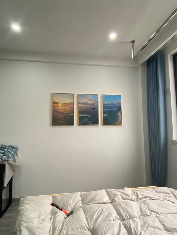 好久不见客厅装饰画大海风景画沙发背景画现代简约装饰画北欧挂画卧室墙画霞光普照三联幅40*60