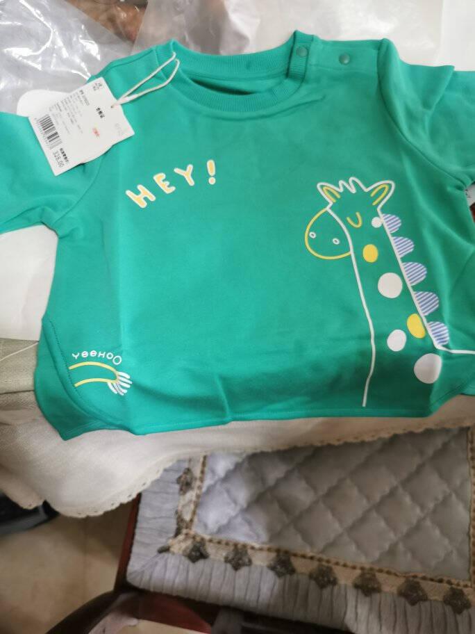 英氏秋季新款婴儿衣服男宝宝圆领休闲卫衣10792223绿73cm(建议6-9月)