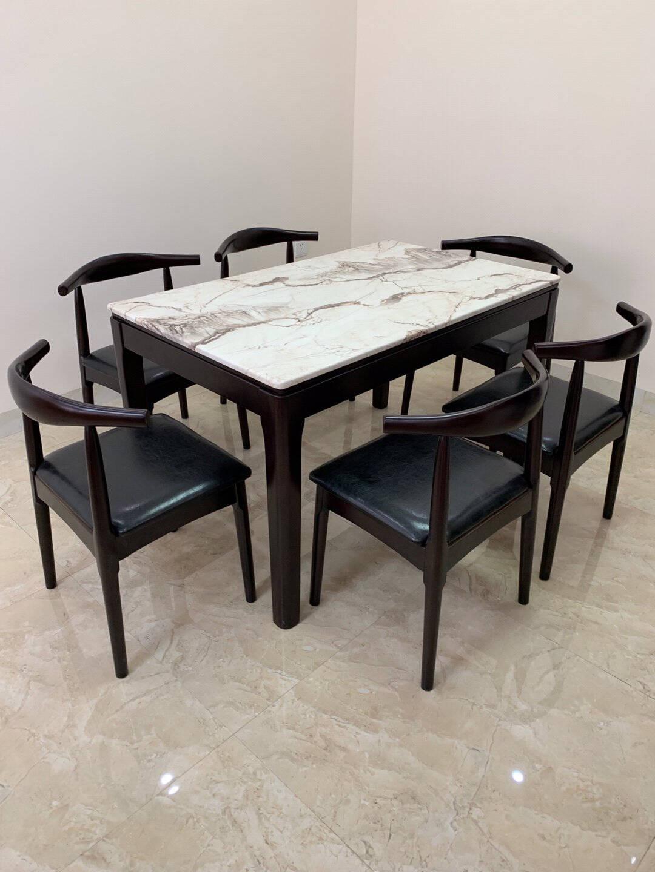 骄兰诗雅现代简约大理石餐桌家用小户型实木餐桌椅组合长方形轻奢北欧风西餐饭桌子胡桃色实木餐桌(花纹备注)普通款1.2米单桌