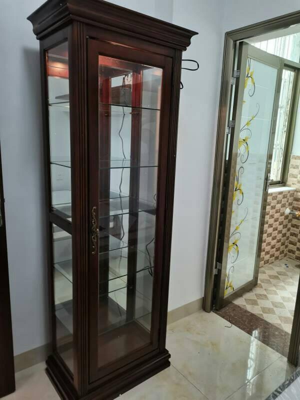 皇加豪庭酒柜美式实木柜客厅简约装饰柜餐边柜餐厅展示柜红酒柜子玻璃柜樱桃色