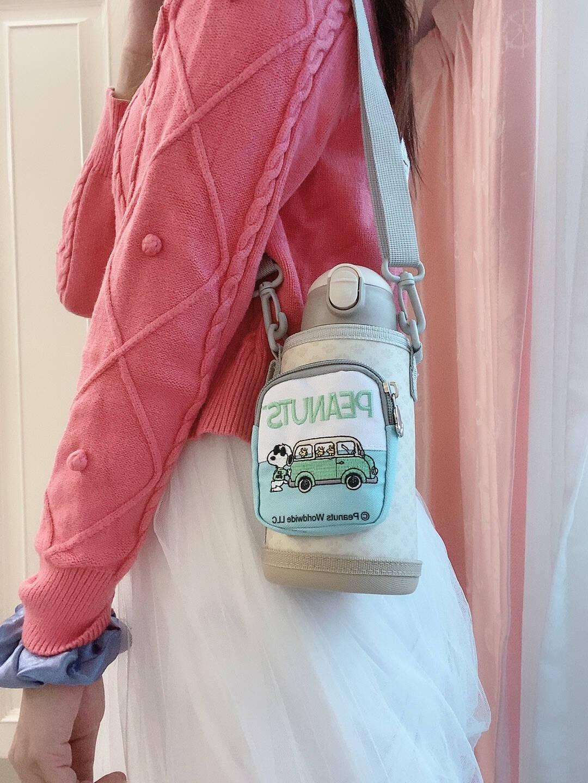 SNOOPY史努比儿童保温杯男女带吸管316不锈钢便携高颜值可爱孩子宝宝小学生大容量水杯子白色(一杯三盖)-快乐出行